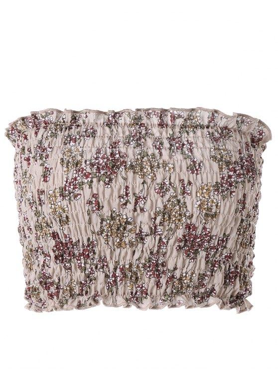 بلوزة مزمومة مزينة بأزهار - القهوة الخفيفة XL