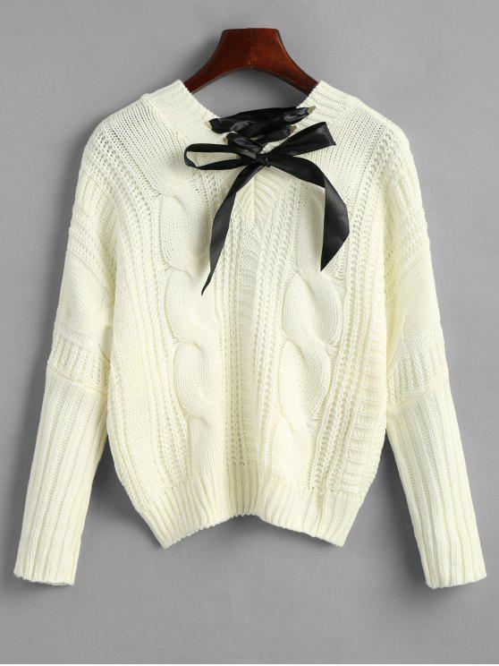 trendy Cable Knit Bowknot Chunky Sweater - OFF-WHITE ONE SIZE