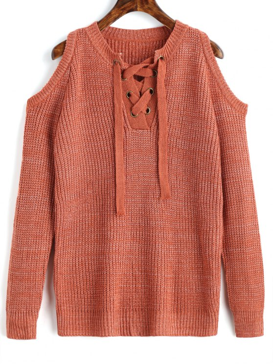 trendy Lace Up Cold Shoulder Chunky Sweater - ORANGEPINK ONE SIZE