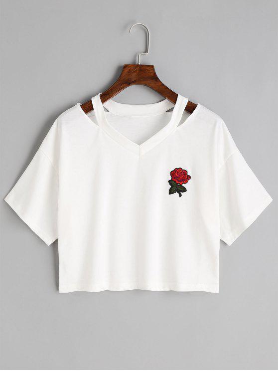 Top de hombro frío bordado floral - Blanco L