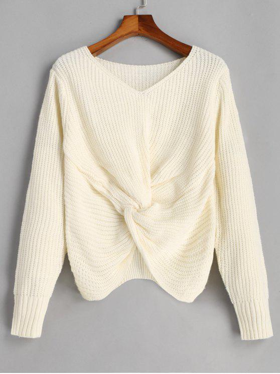 V Neck Twist Chunky Sweater WHITE: Sweaters ONE SIZE | ZAFUL