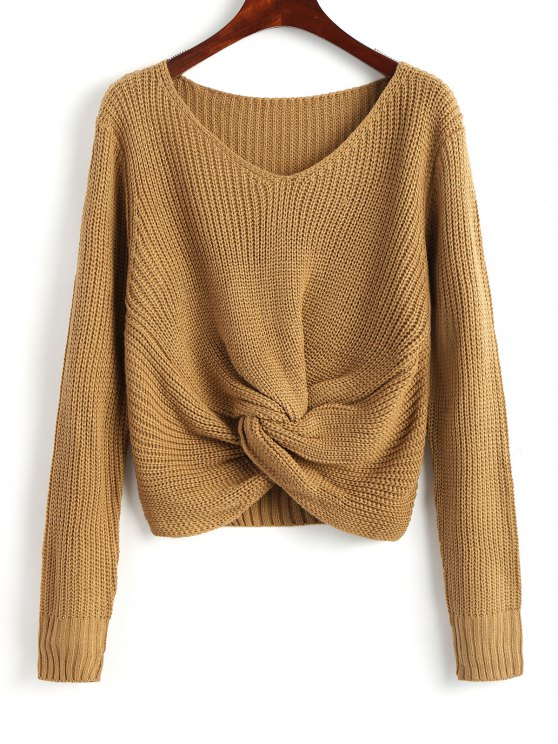 sale V Neck Twist Chunky Sweater - KHAKI ONE SIZE