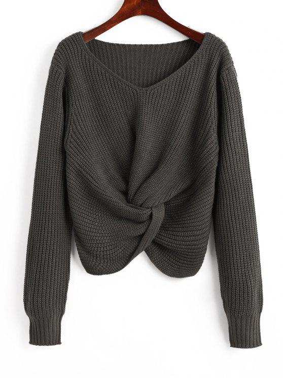 buy V Neck Twist Chunky Sweater - CHARCOAL GRAY ONE SIZE
