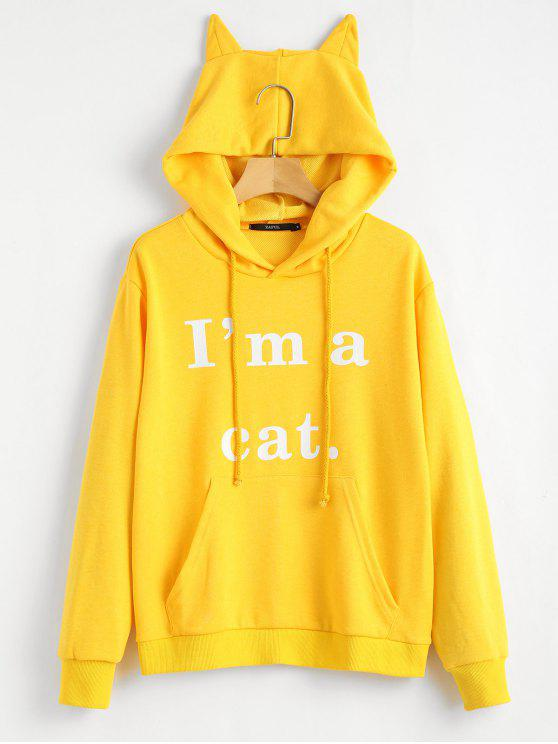 fancy Front Pocket Letter Graphic Cat Hoodie - YELLOW XS