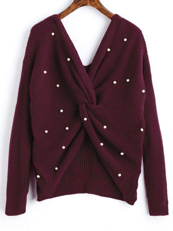 lady V Neck Twist Pearly Sweater - WINE RED ONE SIZE