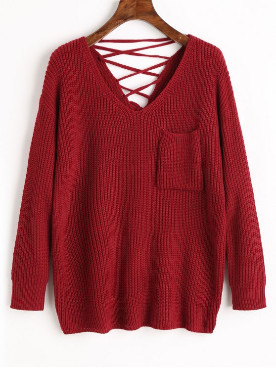 women V Neck Lace Up Back Pullover Sweater - WINE RED ONE SIZE