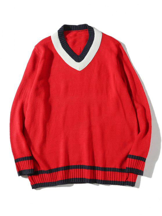 hot V Neck Cricket Sweater - RED L