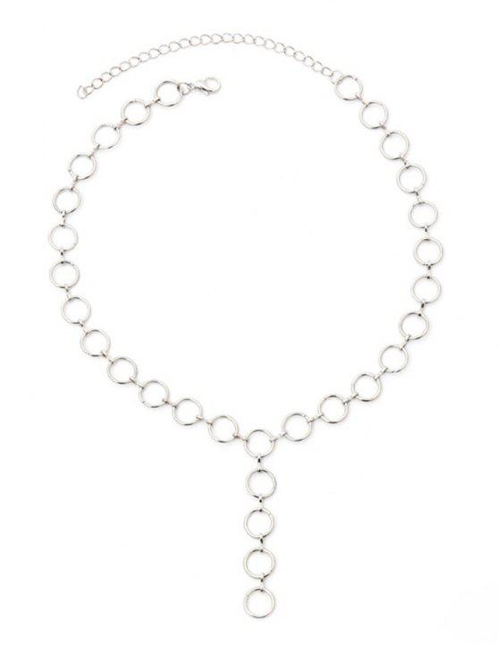 Collana A Catena Con Design Circolare In Metallo - Argento