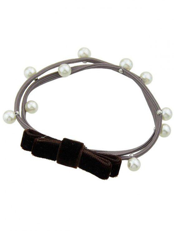 Faux Pearl Velvet Bögen elastisches Haarband - Braun