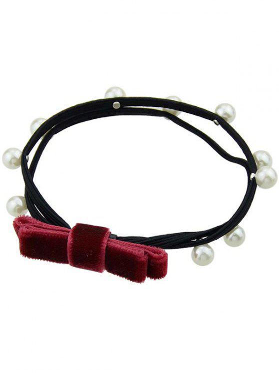 Faux Pearl Velvet Bögen elastisches Haarband - Rot