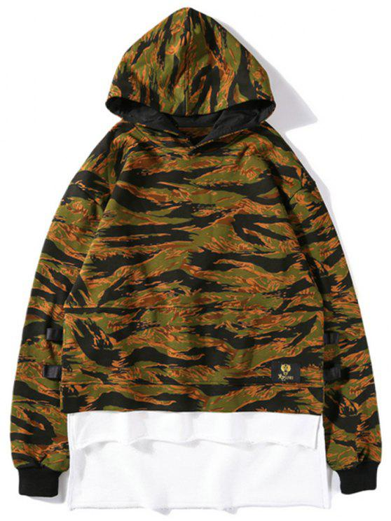 chic High Low Layered Camo Hoodie - CAMOUFLAGE S