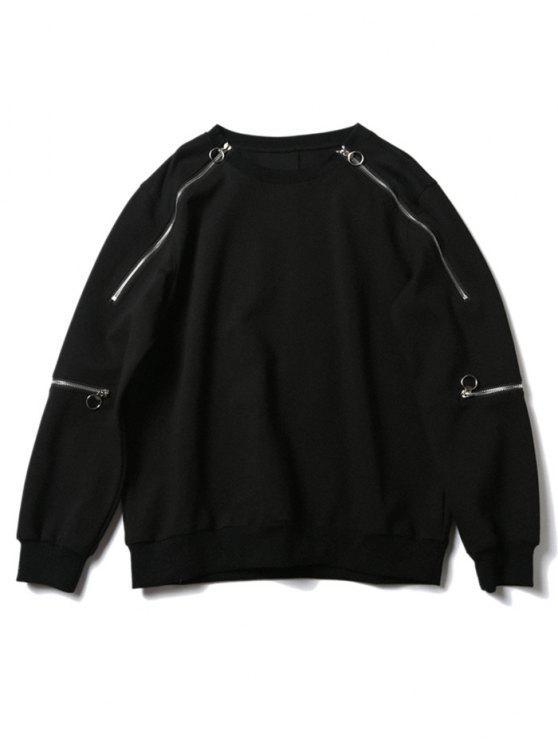 30% OFF  2019 Crew Neck Zipper Design Sweatshirt In BLACK S  bbd90c584a07
