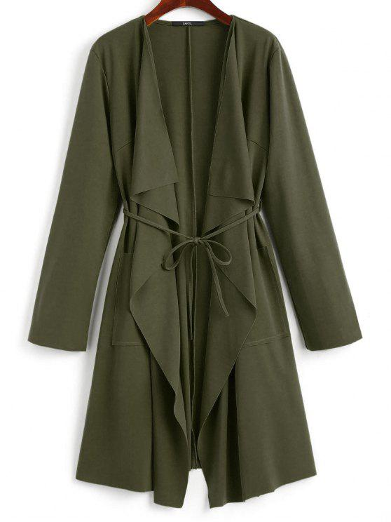 outfit Front Pockets Draped Coat - ARMY GREEN S