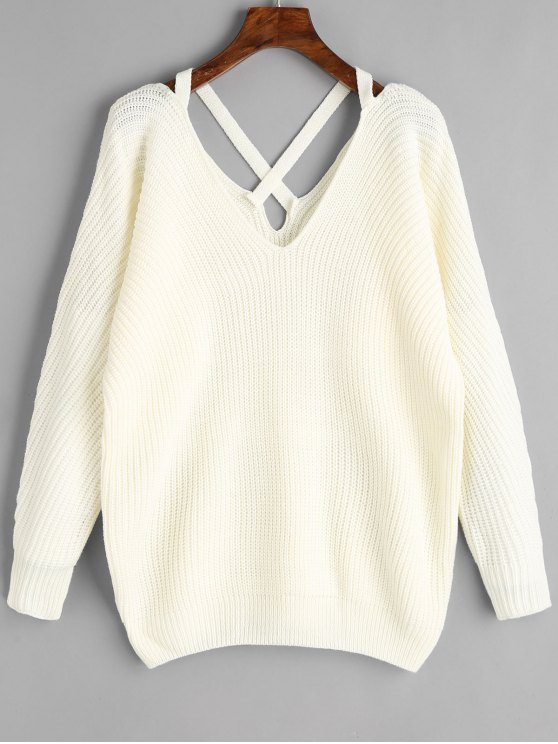 womens V Neck Criss Cross Pullover Sweater - WHITE ONE SIZE
