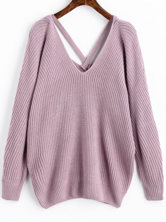 V Neck Criss Cross Pullover Sweater LIGHT PURPLE: Sweaters ONE ...