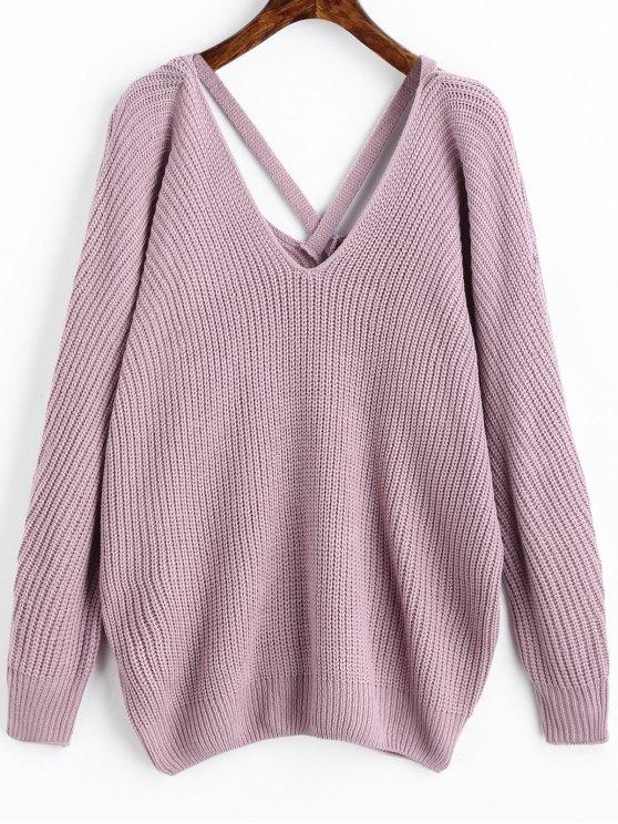 trendy V Neck Criss Cross Pullover Sweater - LIGHT PURPLE ONE SIZE