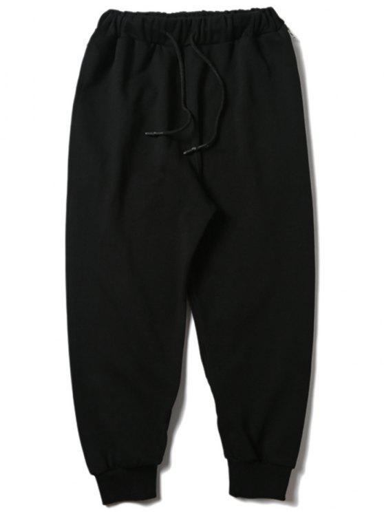 lady Drawstring Zipper Sports Pants - BLACK M