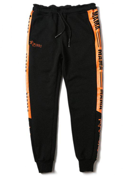 online Drawstring Contrast Color Graphic Sports Pants - BLACK L