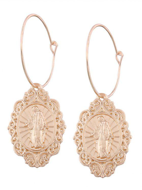 best Engraved Jesus Oval Hoop Drop Earrings - GOLDEN