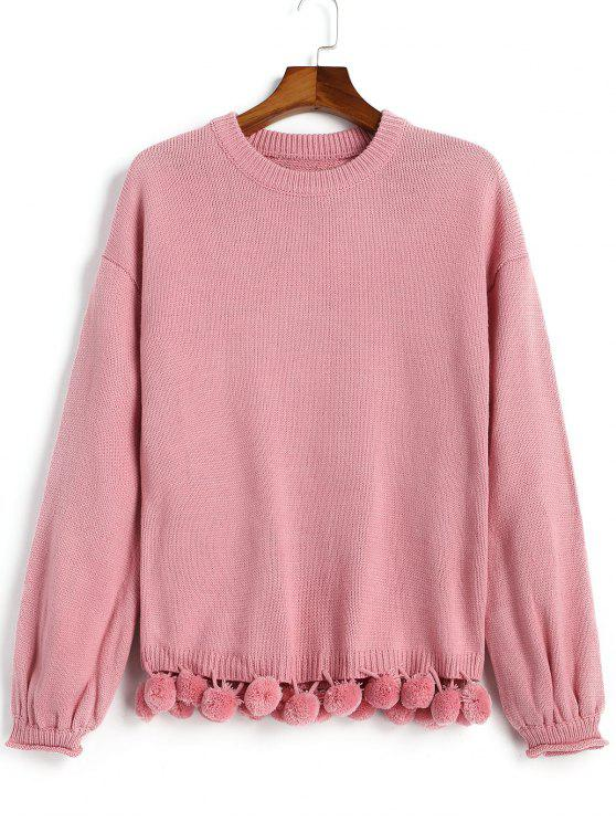 shops Lantern Sleeve Pompoms Pullover Sweater - PINKISH PURPLE ONE SIZE