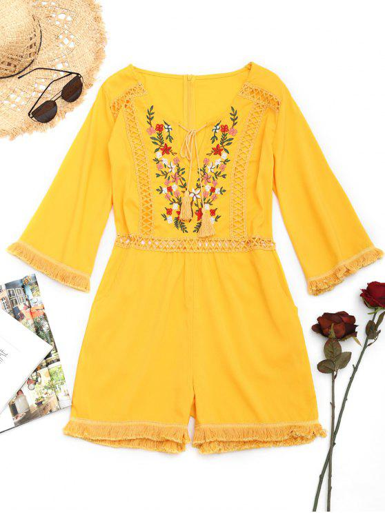 lady Crochet Panel Floral Patched Tassels Romper - YELLOW S