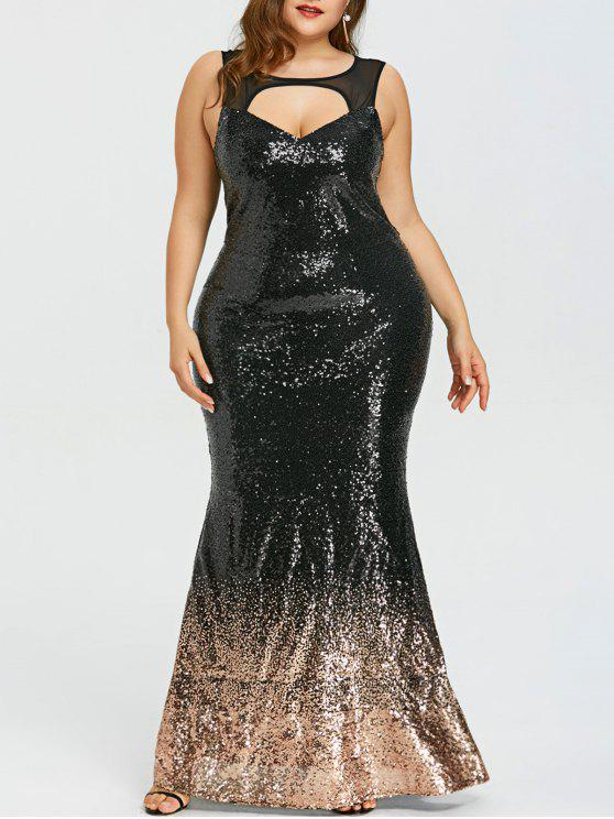 Plus Size Open Back Sparkly Prom Dress
