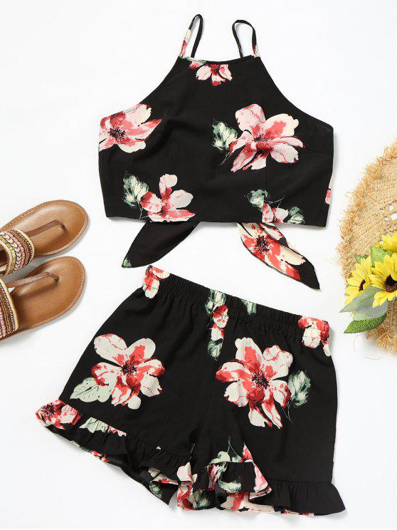 fancy Floral Cami Crop Top with Shorts Set - BLACK S