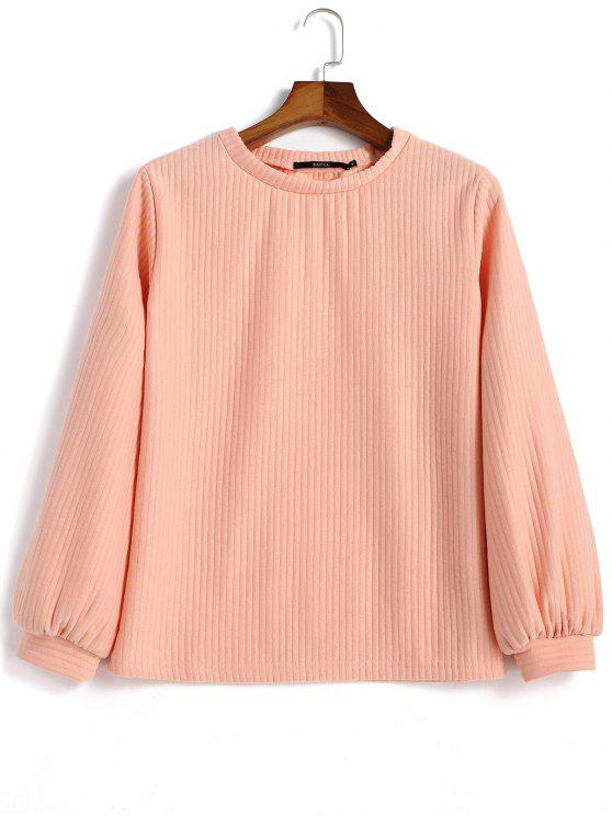 womens Lantern Sleeve Ribbed Sweatshirt - PINK M