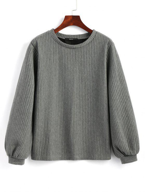 buy Lantern Sleeve Ribbed Sweatshirt - DEEP GRAY S