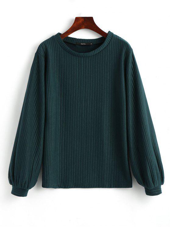 lady Lantern Sleeve Ribbed Sweatshirt - MALACHITE GREEN L