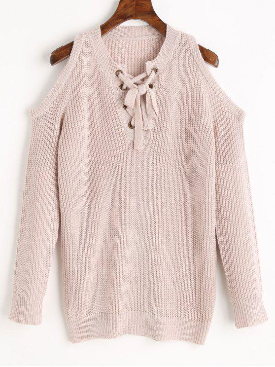 fashion Lace Up Cold Shoulder Chunky Sweater - PINKBEIGE ONE SIZE