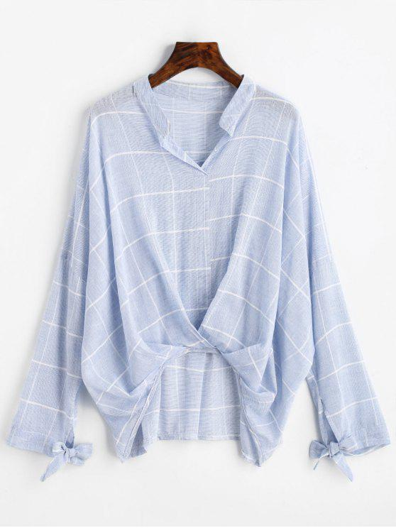 lady Gathered Gingham High Low Blouse - LIGHT BLUE L