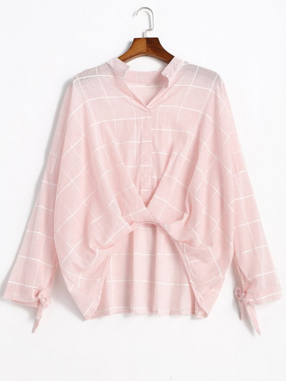 Gathered Gingham High Low Blouse - Rosa Claro S
