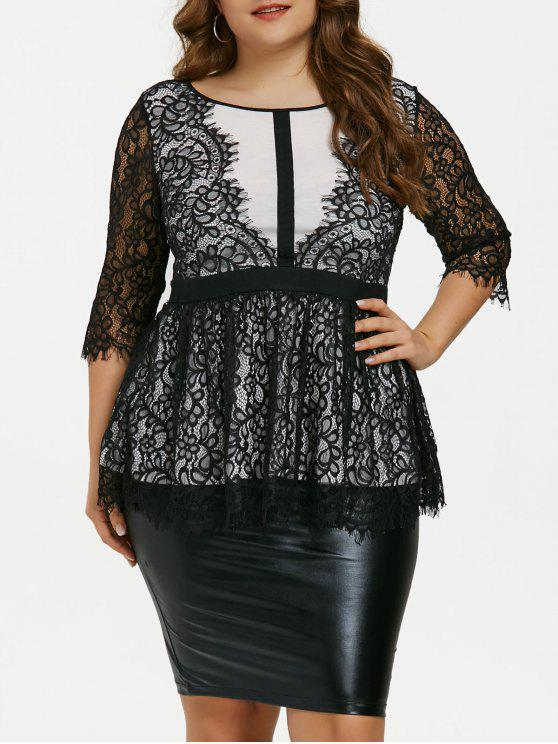 60a2f91f6cf0b 2019 Plus Size Lace Peplum Top In WHITE AND BLACK 4XL