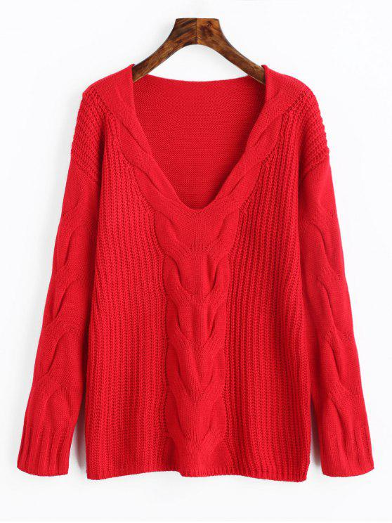 online Pullover V Neck Cable Knit Sweater - RED S