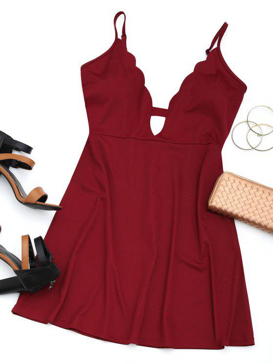 online Cut Out Scalloped Mini Dress - WINE RED M