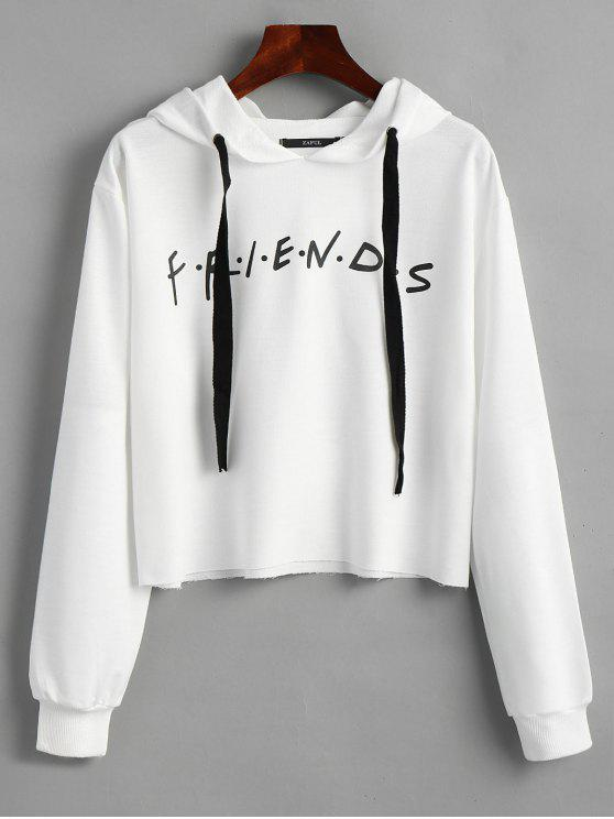 fancy Drawstring Loose Letter Cropped Hoodie - WHITE M
