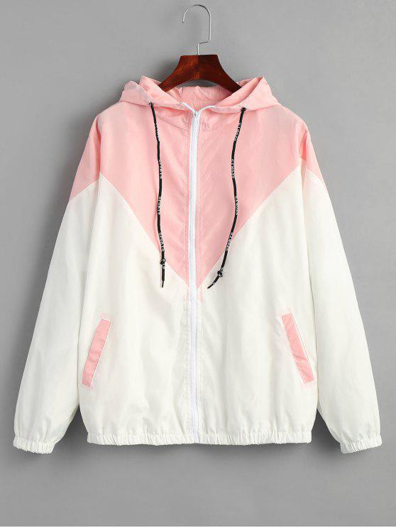 shop Two Tone Hooded Windbreaker - PINK M