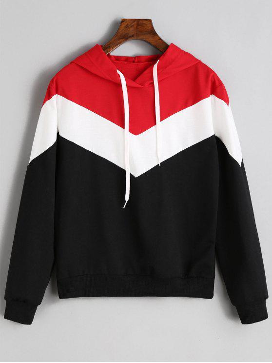 latest Drop Shoulder Drawstring Contrast Hoodie - MULTICOLOR S