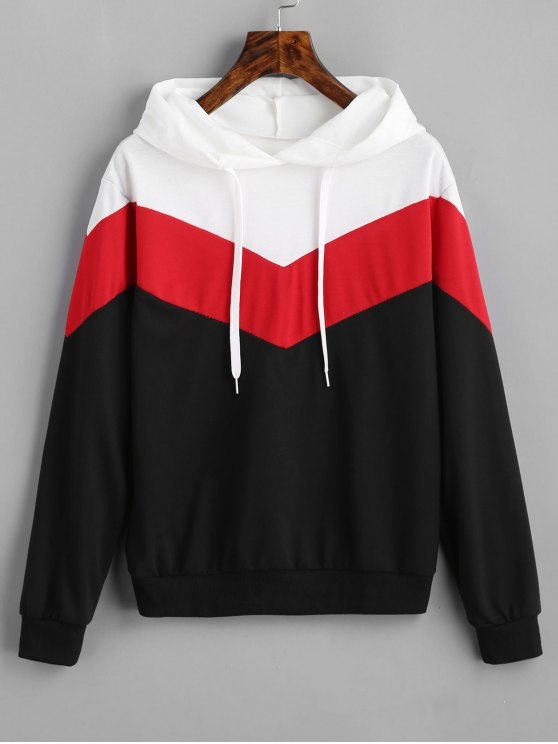 outfits Drop Shoulder Drawstring Contrast Hoodie - BLACK AND WHITE AND RED L