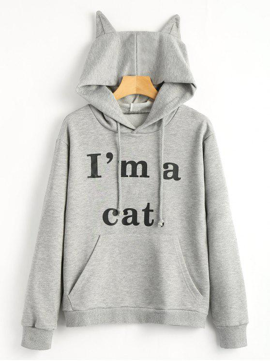 latest Front Pocket Letter Graphic Cat Hoodie - GRAY M