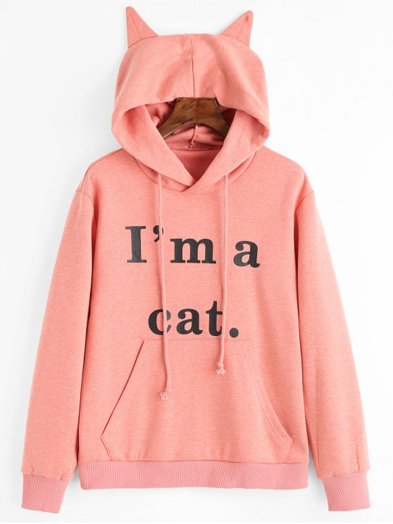 best Front Pocket Letter Graphic Cat Hoodie - PINK M