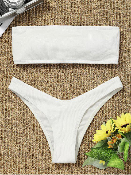 outfits High Cut Ribbed Bandeau Bikini Set - WHITE L