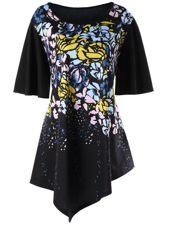 3521ffffa3 24% OFF] 2019 Plus Size Bell Sleeve Floral Asymmetric T-shirt In ...