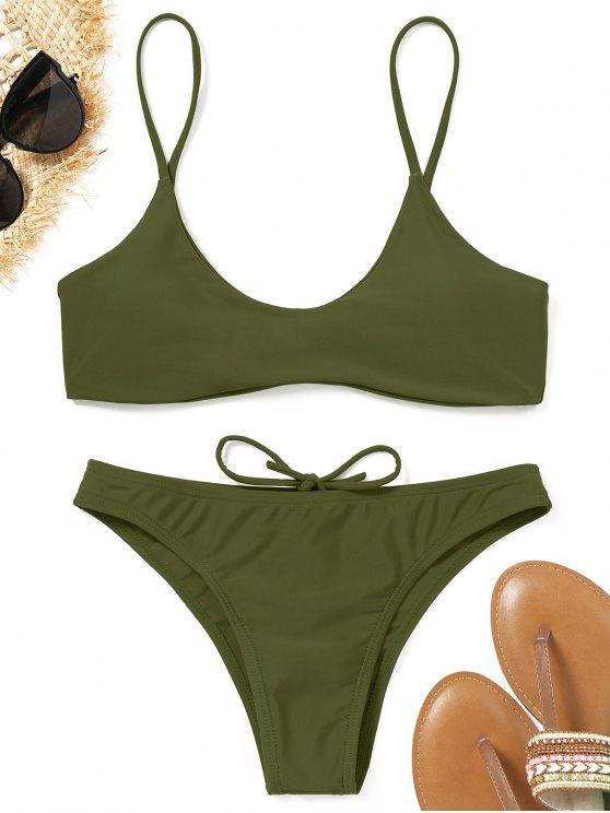 affordable Spaghetti Straps Padded Bikini Set - ARMY GREEN S
