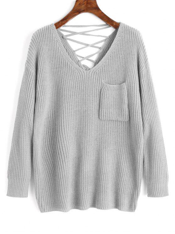 buy V Neck Lace Up Back Pullover Sweater - GRAY ONE SIZE
