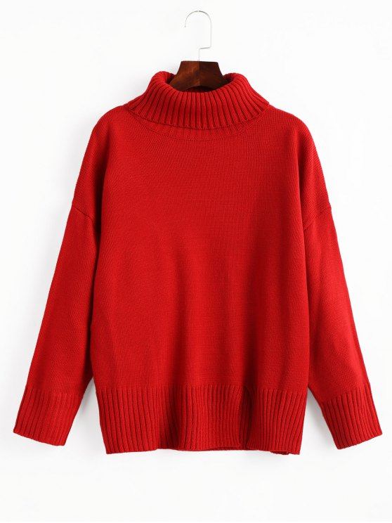 affordable Slit Oversized Turtleneck Sweater - RED ONE SIZE