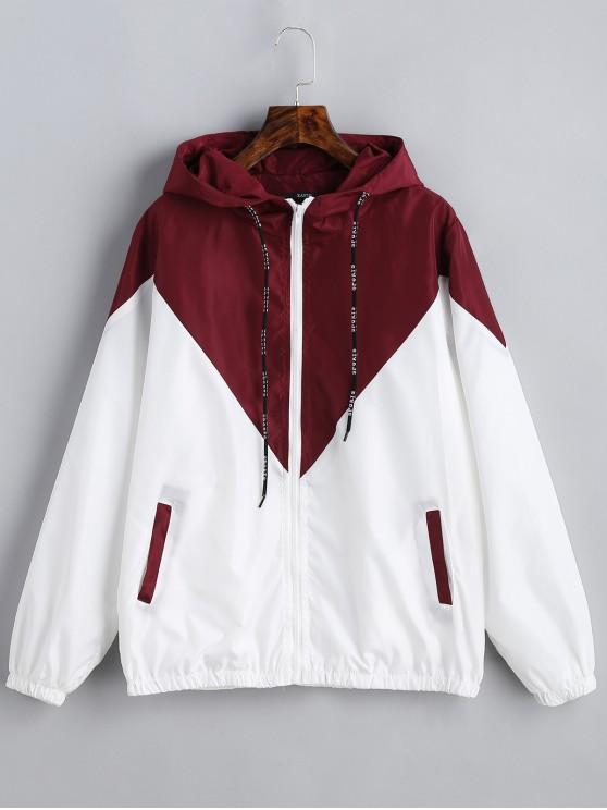 d23b1d3bea79 45% OFF   HOT  2019 Two Tone Hooded Windbreaker In RED WITH WHITE ...