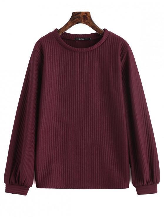 new Lantern Sleeve Ribbed Sweatshirt - WINE RED S