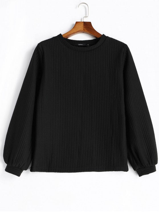 fashion Lantern Sleeve Ribbed Sweatshirt - BLACK XL